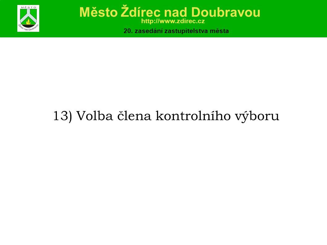 13) Volba člena kontrolního výboru Město Ždírec nad Doubravou http://www.zdirec.cz 20.