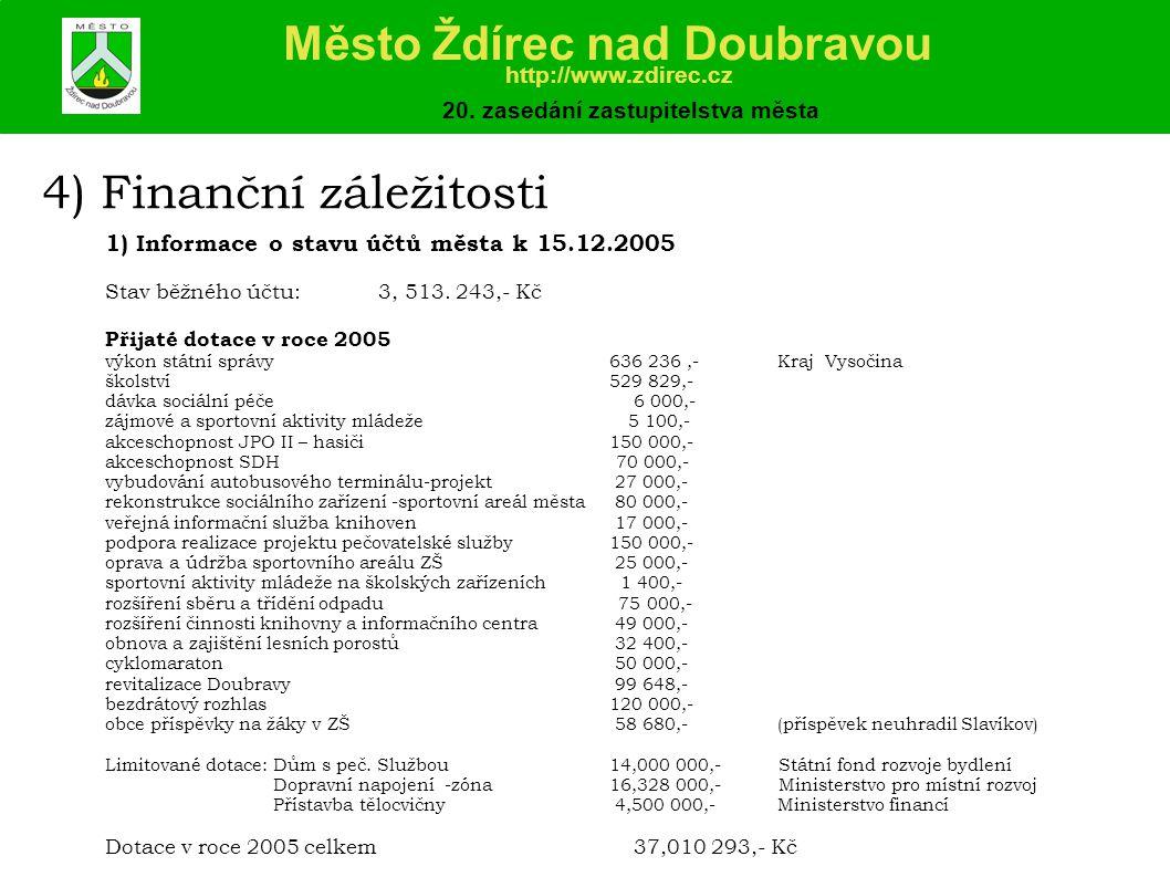 4) Finanční záležitosti 1) Informace o stavu účtů města k 15.12.2005 Stav běžného účtu: 3, 513.