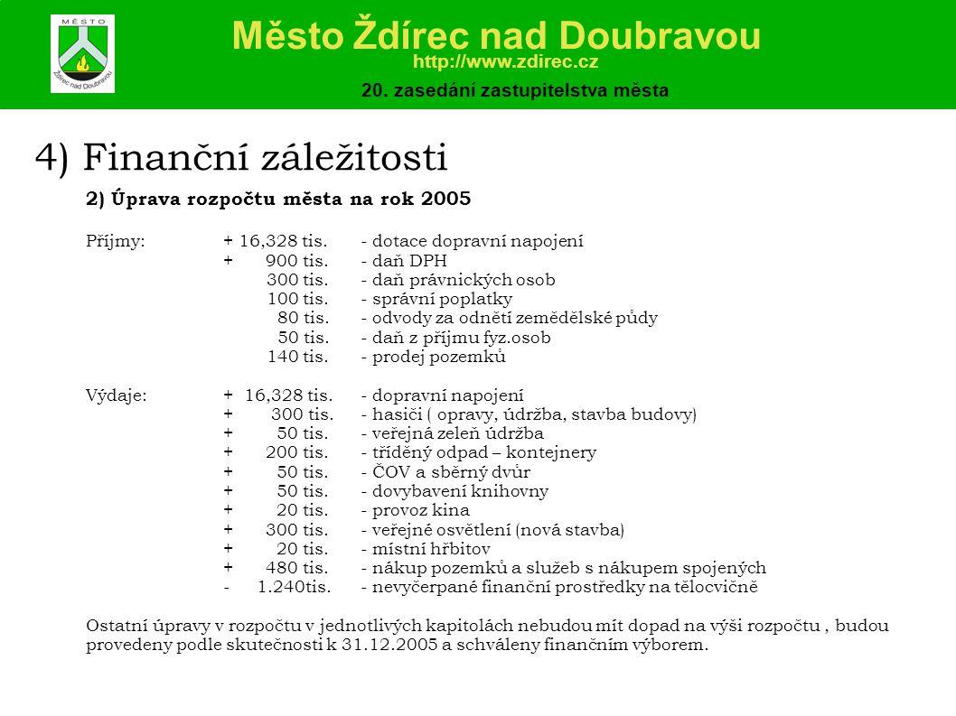 4) Finanční záležitosti 2) Úprava rozpočtu města na rok 2005 Příjmy:+ 16,328 tis.- dotace dopravní napojení + 900 tis.- daň DPH 300 tis.- daň právnických osob 100 tis.- správní poplatky 80 tis.- odvody za odnětí zemědělské půdy 50 tis.- daň z příjmu fyz.osob 140 tis.- prodej pozemků Výdaje:+ 16,328 tis.- dopravní napojení + 300 tis.- hasiči ( opravy, údržba, stavba budovy) + 50 tis.- veřejná zeleň údržba + 200 tis.- tříděný odpad – kontejnery + 50 tis.- ČOV a sběrný dvůr + 50 tis.- dovybavení knihovny + 20 tis.- provoz kina + 300 tis.- veřejné osvětlení (nová stavba) + 20 tis.- místní hřbitov + 480 tis.- nákup pozemků a služeb s nákupem spojených - 1.240tis.- nevyčerpané finanční prostředky na tělocvičně Ostatní úpravy v rozpočtu v jednotlivých kapitolách nebudou mít dopad na výši rozpočtu, budou provedeny podle skutečnosti k 31.12.2005 a schváleny finančním výborem.