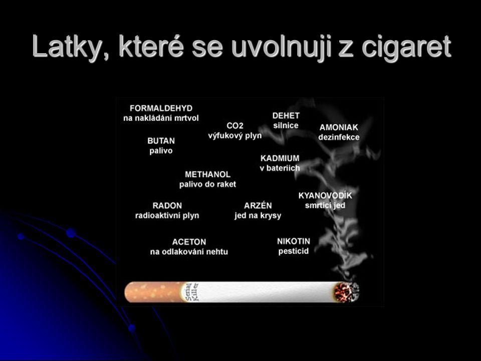 Latky, které se uvolnuji z cigaret