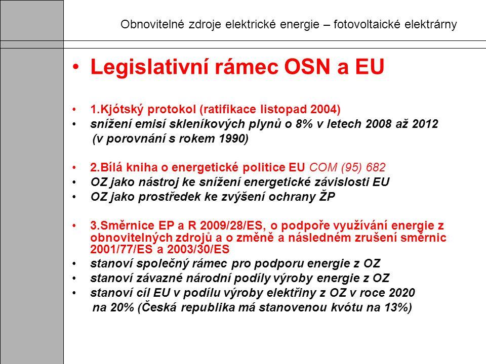 Obnovitelné zdroje elektrické energie – fotovoltaické elektrárny Legislativní rámec OSN a EU 1.Kjótský protokol (ratifikace listopad 2004) snížení emi