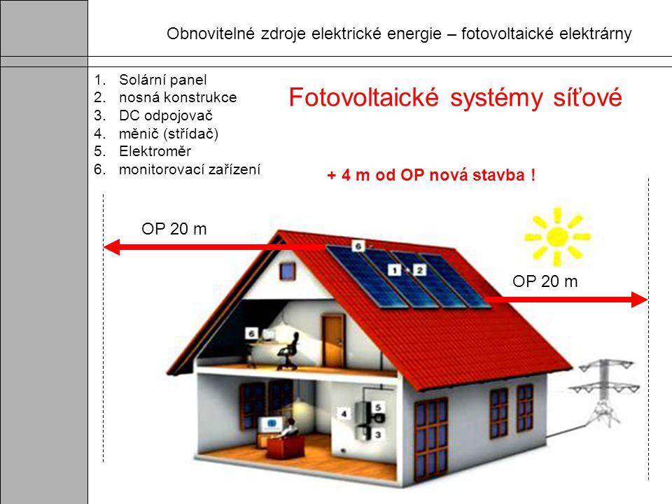 1.Solární panel 2. nosná konstrukce 3. DC odpojovač 4. měnič (střídač) 5. Elektroměr 6. monitorovací zařízení Fotovoltaické systémy síťové OP 20 m + 4