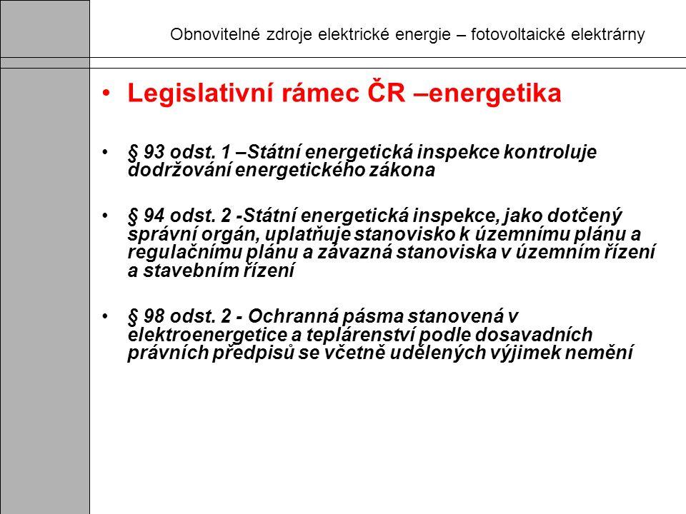 Obnovitelné zdroje elektrické energie – fotovoltaické elektrárny Legislativní rámec ČR –energetika § 93 odst. 1 –Státní energetická inspekce kontroluj