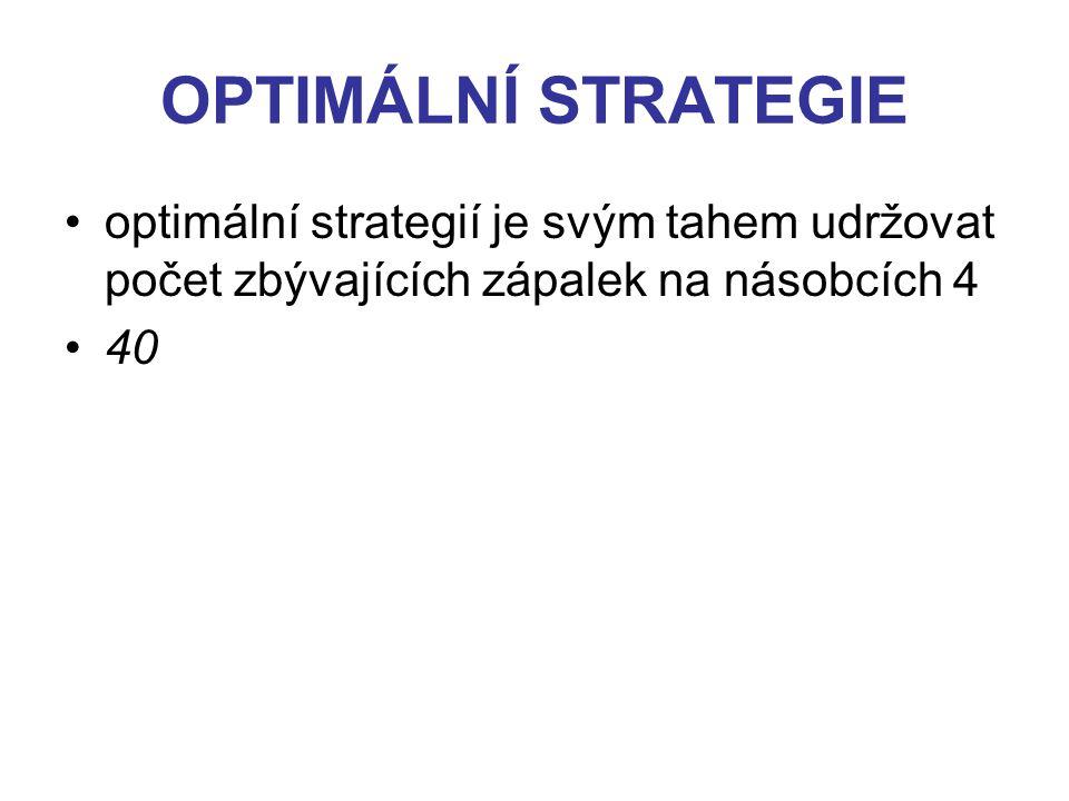 OPTIMÁLNÍ STRATEGIE optimální strategií je svým tahem udržovat počet zbývajících zápalek na násobcích 4 40