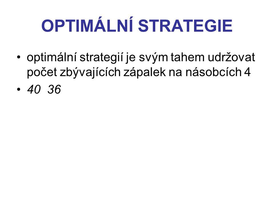 OPTIMÁLNÍ STRATEGIE optimální strategií je svým tahem udržovat počet zbývajících zápalek na násobcích 4 40 36