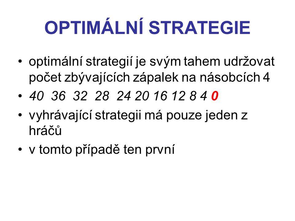 OPTIMÁLNÍ STRATEGIE optimální strategií je svým tahem udržovat počet zbývajících zápalek na násobcích 4 40 36 32 28 24 20 16 12 8 4 0 vyhrávající strategii má pouze jeden z hráčů v tomto případě ten první