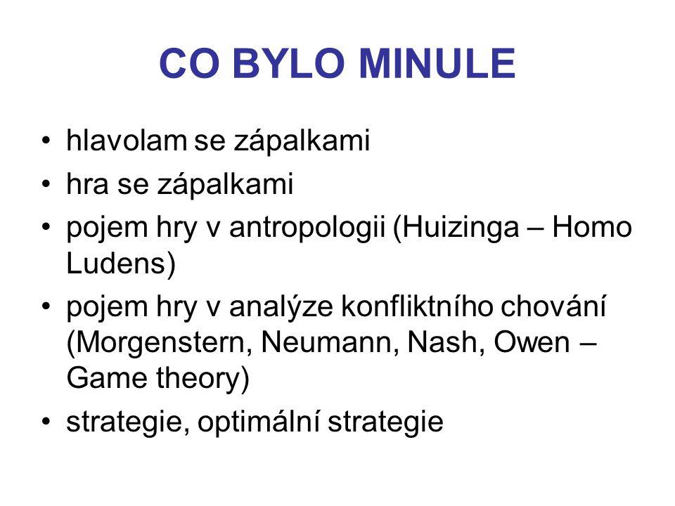 CO BYLO MINULE hlavolam se zápalkami hra se zápalkami pojem hry v antropologii (Huizinga – Homo Ludens) pojem hry v analýze konfliktního chování (Morgenstern, Neumann, Nash, Owen – Game theory) strategie, optimální strategie