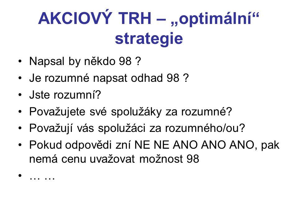 """AKCIOVÝ TRH – """"optimální strategie Napsal by někdo 98 ."""