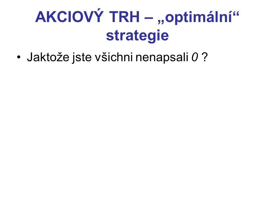 """AKCIOVÝ TRH – """"optimální strategie Jaktože jste všichni nenapsali 0"""