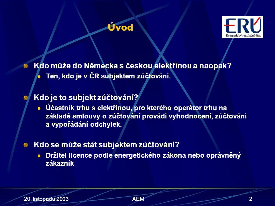20. listopadu 2003AEM2 Úvod Kdo může do Německa s českou elektřinou a naopak.