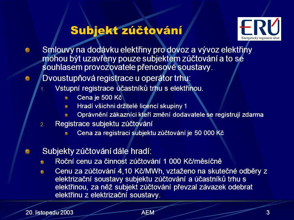 20. listopadu 2003AEM3 Subjekt zúčtování Smlouvy na dodávku elektřiny pro dovoz a vývoz elektřiny mohou být uzavřeny pouze subjektem zúčtování a to se