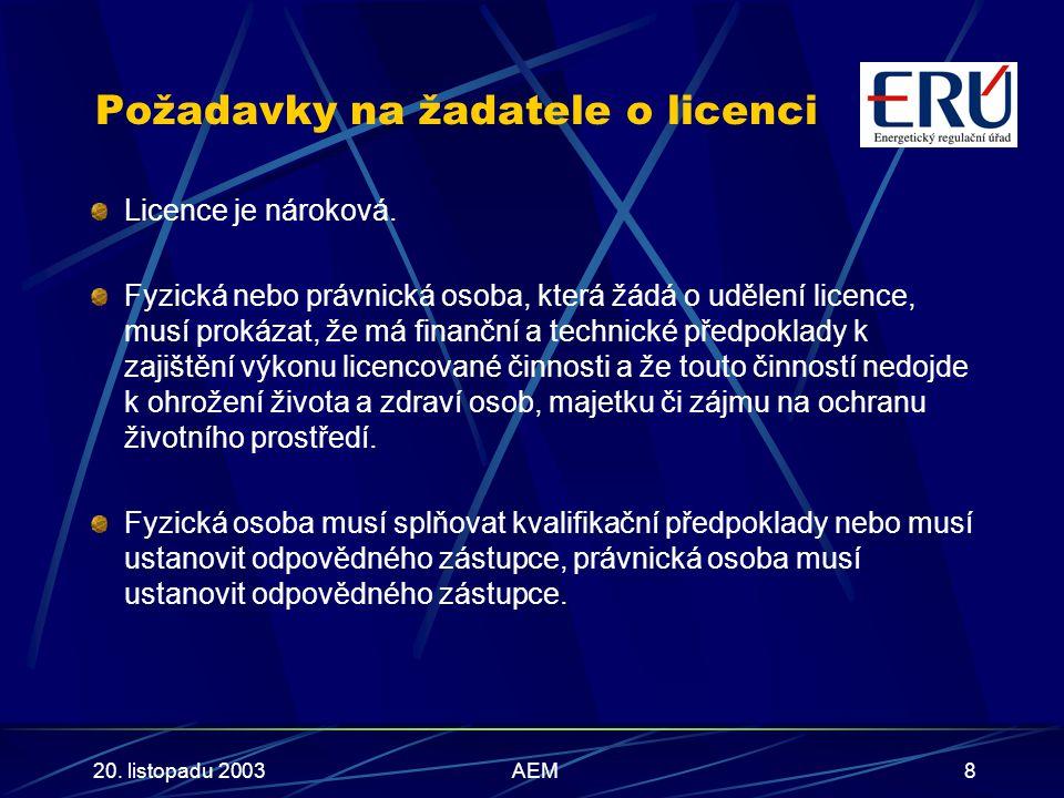 20. listopadu 2003AEM8 Požadavky na žadatele o licenci Licence je nároková.