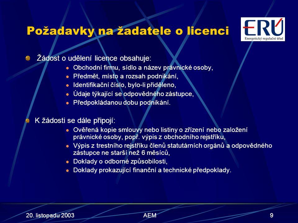 20. listopadu 2003AEM9 Požadavky na žadatele o licenci Žádost o udělení licence obsahuje: Obchodní firmu, sídlo a název právnické osoby, Předmět, míst