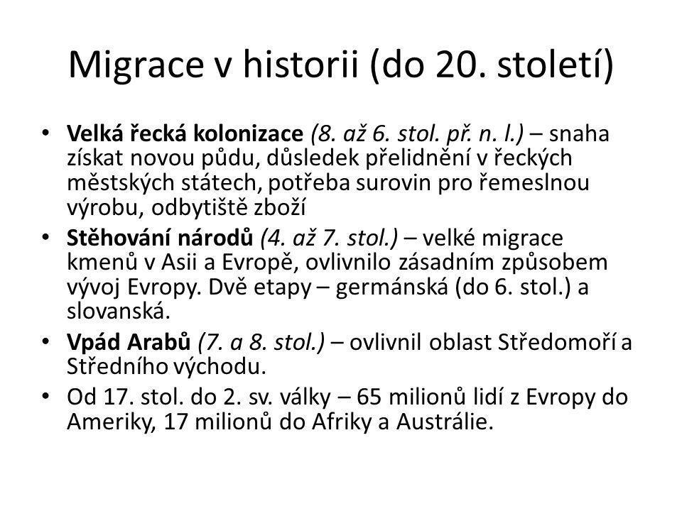 Migrace v historii (do 20. století) Velká řecká kolonizace (8. až 6. stol. př. n. l.) – snaha získat novou půdu, důsledek přelidnění v řeckých městský