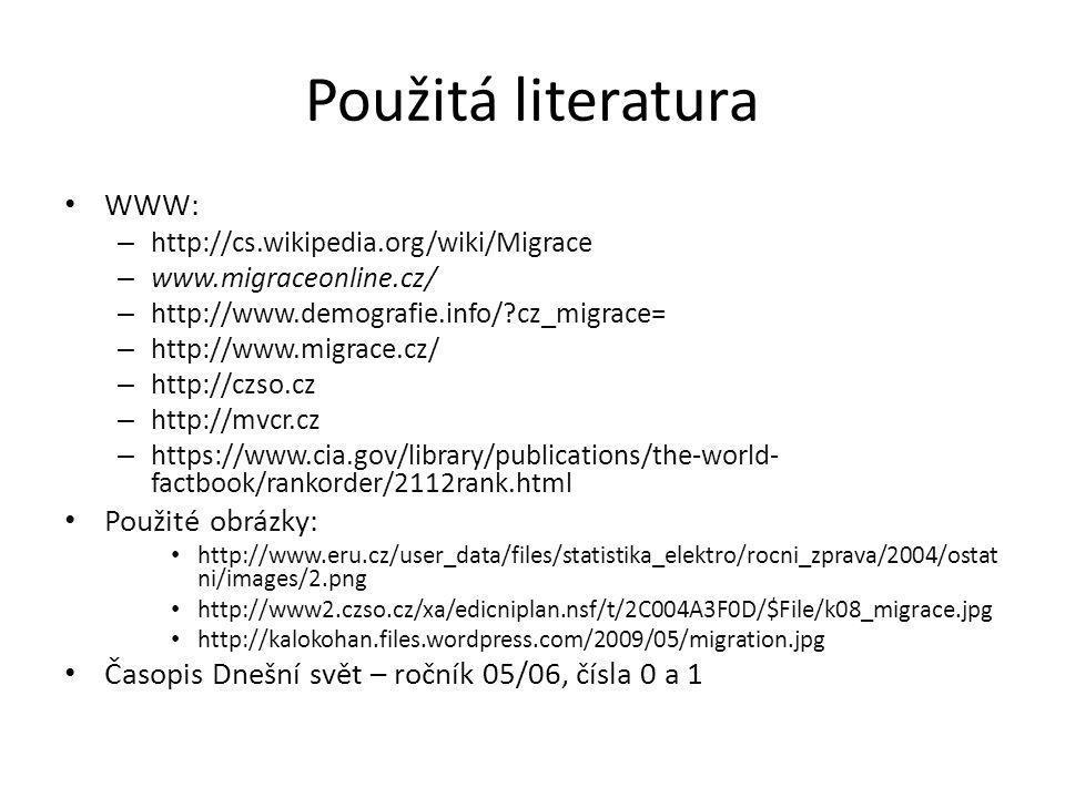 Použitá literatura WWW: – http://cs.wikipedia.org/wiki/Migrace – www.migraceonline.cz/ – http://www.demografie.info/?cz_migrace= – http://www.migrace.