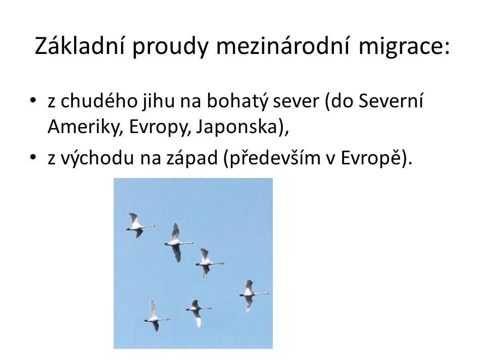 Základní proudy mezinárodní migrace: z chudého jihu na bohatý sever (do Severní Ameriky, Evropy, Japonska), z východu na západ (především v Evropě).