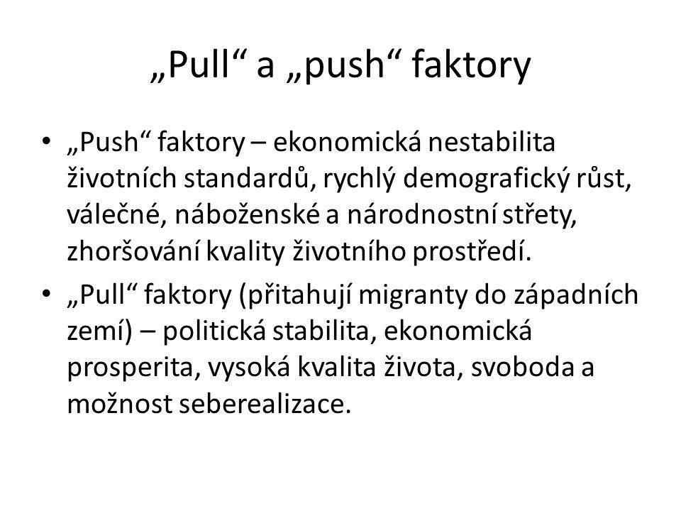 """""""Pull"""" a """"push"""" faktory """"Push"""" faktory – ekonomická nestabilita životních standardů, rychlý demografický růst, válečné, náboženské a národnostní střet"""