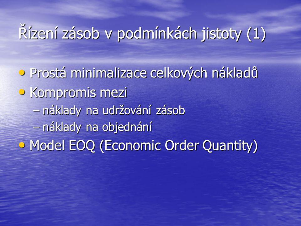 Řízení zásob v podmínkách jistoty (1) Prostá minimalizace celkových nákladů Prostá minimalizace celkových nákladů Kompromis mezi Kompromis mezi –nákla