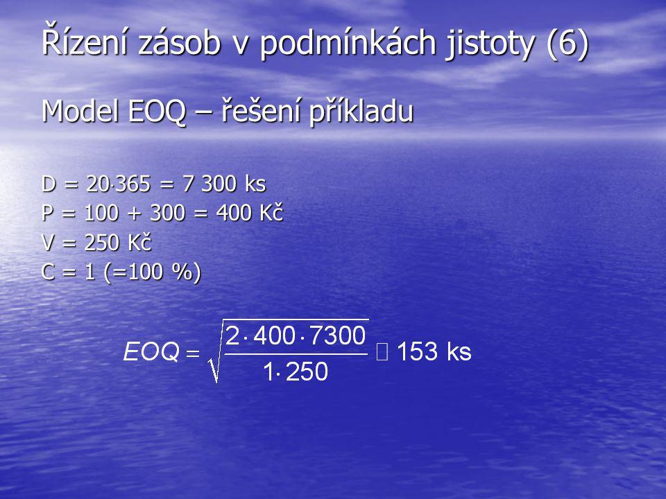 Řízení zásob v podmínkách jistoty (6) Model EOQ – řešení příkladu D = 20  365 = 7 300 ks P = 100 + 300 = 400 Kč V = 250 Kč C = 1 (=100 %)