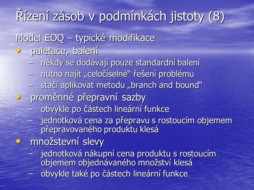 Řízení zásob v podmínkách jistoty (8) Model EOQ – typické modifikace paletace, balení paletace, balení –někdy se dodávají pouze standardní balení –nut