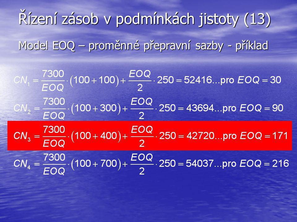 Řízení zásob v podmínkách jistoty (13) Model EOQ – proměnné přepravní sazby - příklad