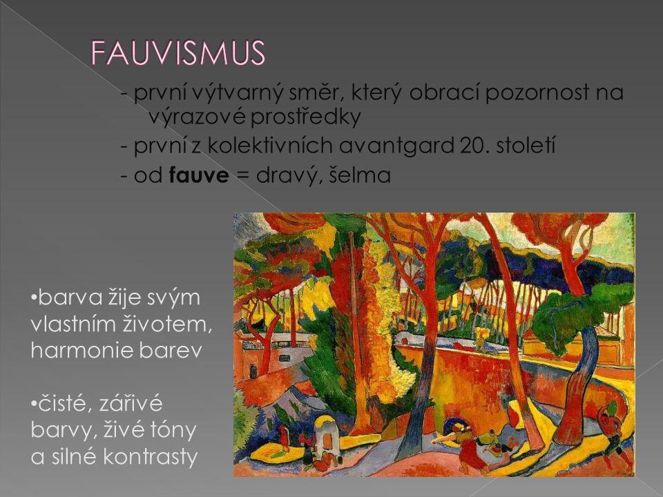 1869 - 1954 Krása, klid a rozkoš - 1904 přes pointilismus se dostává k fauvismu obraz má být lenoškou unavenému oku vidění je oproštěno ve prospěch kompozice barva nenese význam, je tu především svobodným výrazem.