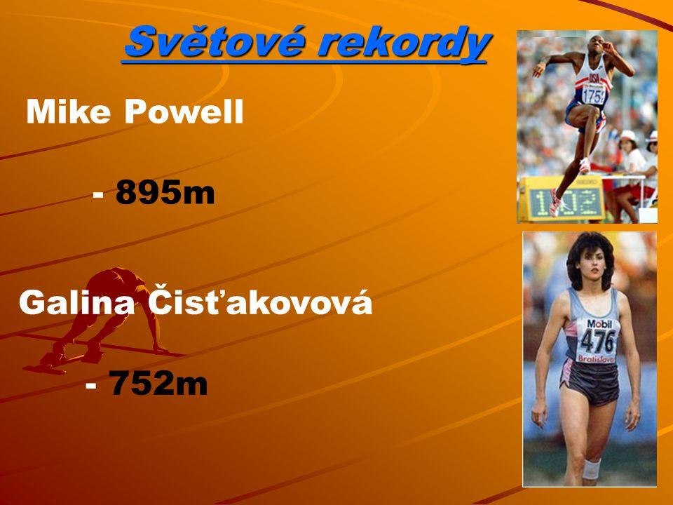 Světové rekordy Mike Powell - 895m Galina Čisťakovová - 752m