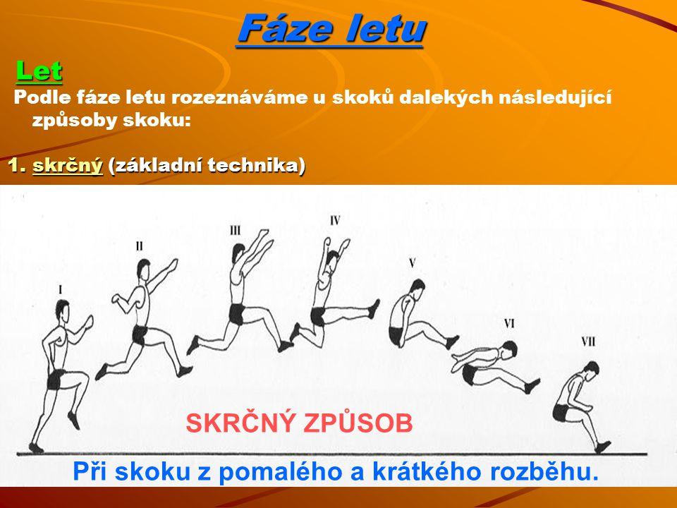 Fáze letu Let Let Podle fáze letu rozeznáváme u skoků dalekých následující způsoby skoku: 1.skrčný (základní technika) SKRČNÝ ZPŮSOB Při skoku z pomalého a krátkého rozběhu.