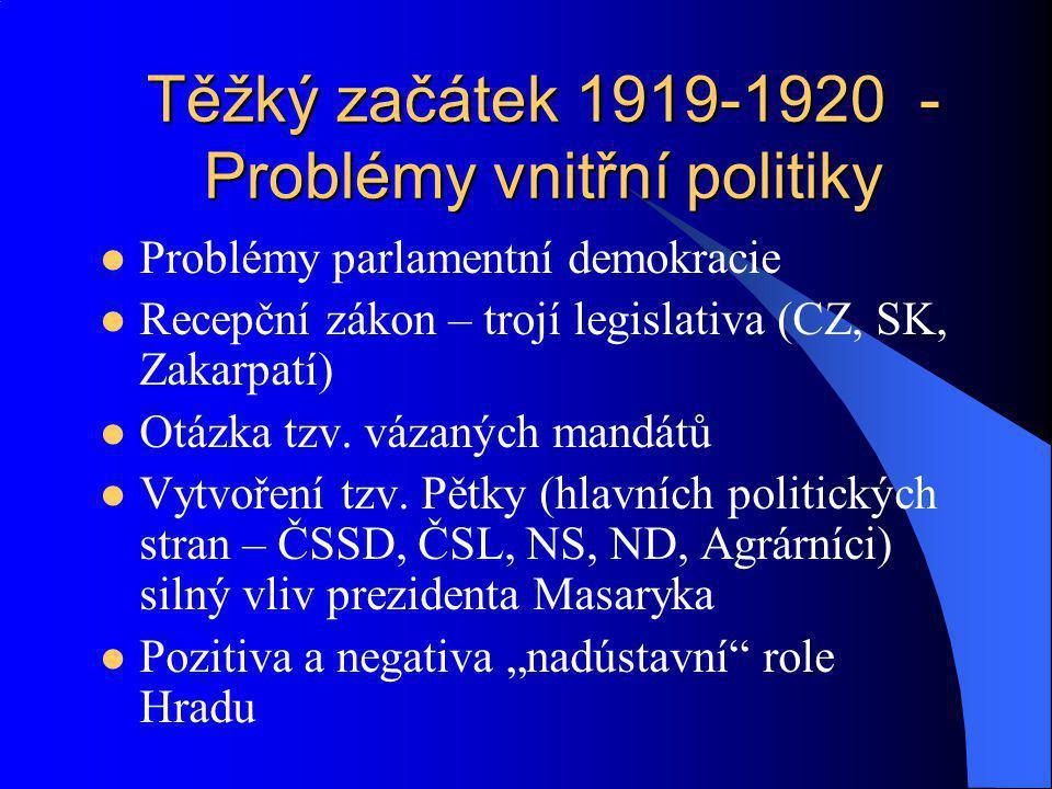 Těžký začátek 1919-1920 - Problémy vnitřní politiky Problémy parlamentní demokracie Recepční zákon – trojí legislativa (CZ, SK, Zakarpatí) Otázka tzv.