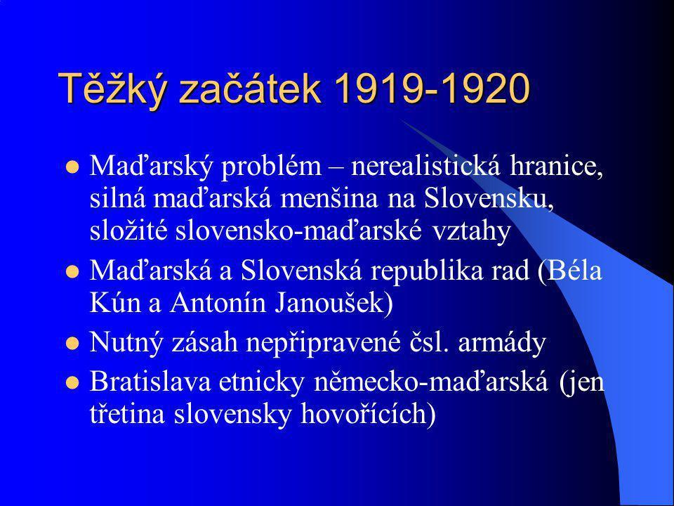 Těžký začátek 1919-1920 Maďarský problém – nerealistická hranice, silná maďarská menšina na Slovensku, složité slovensko-maďarské vztahy Maďarská a Sl