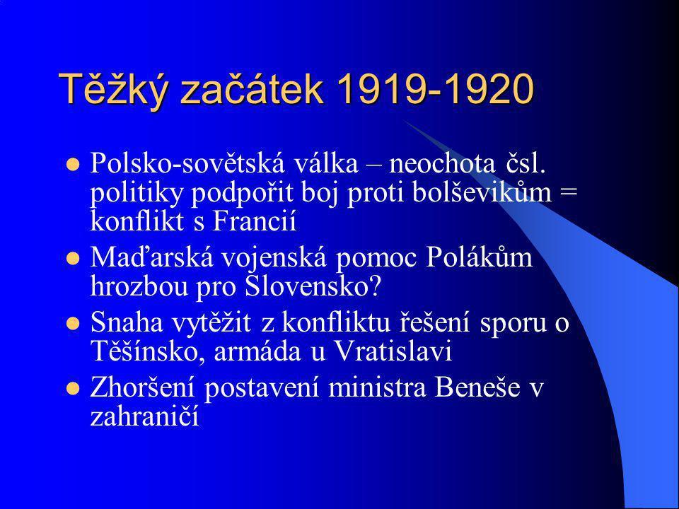 Těžký začátek 1919-1920 Polsko-sovětská válka – neochota čsl. politiky podpořit boj proti bolševikům = konflikt s Francií Maďarská vojenská pomoc Polá