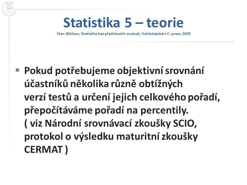 Statistika 5 – teorie Stan Giblisco, Statistika bez předchozích znalostí, Nakladatelství C- press, 2009  Pokud potřebujeme objektivní srovnání účastn