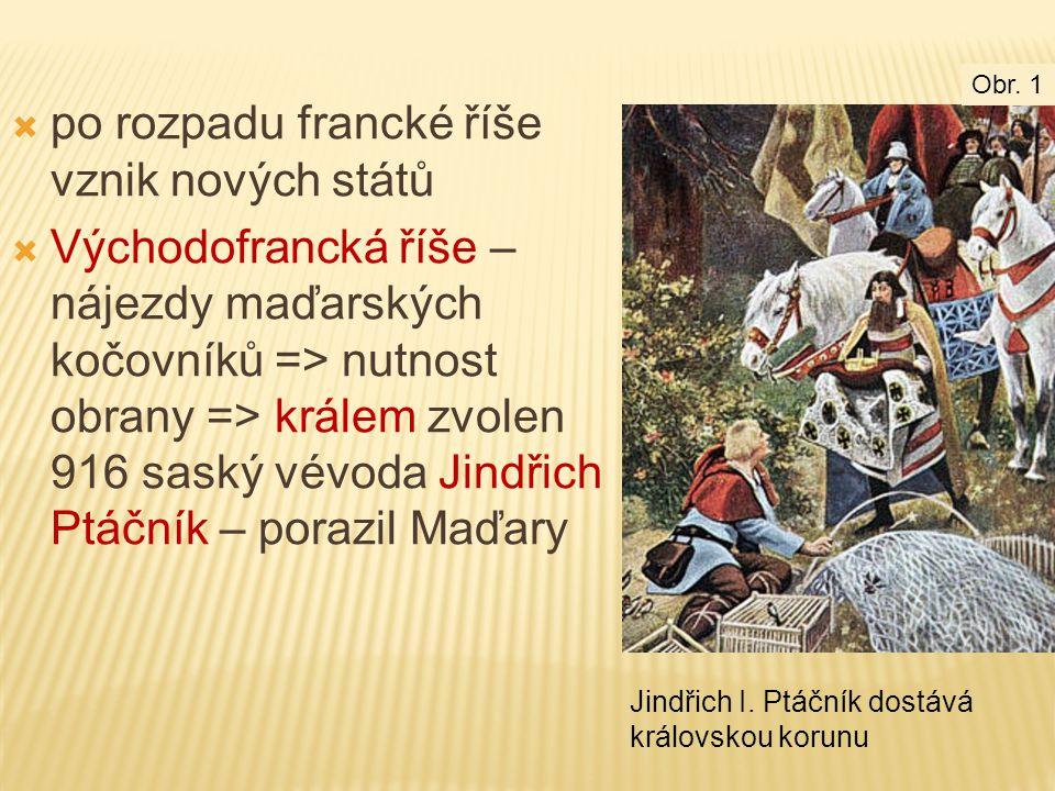  po rozpadu francké říše vznik nových států  Východofrancká říše – nájezdy maďarských kočovníků => nutnost obrany => králem zvolen 916 saský vévoda