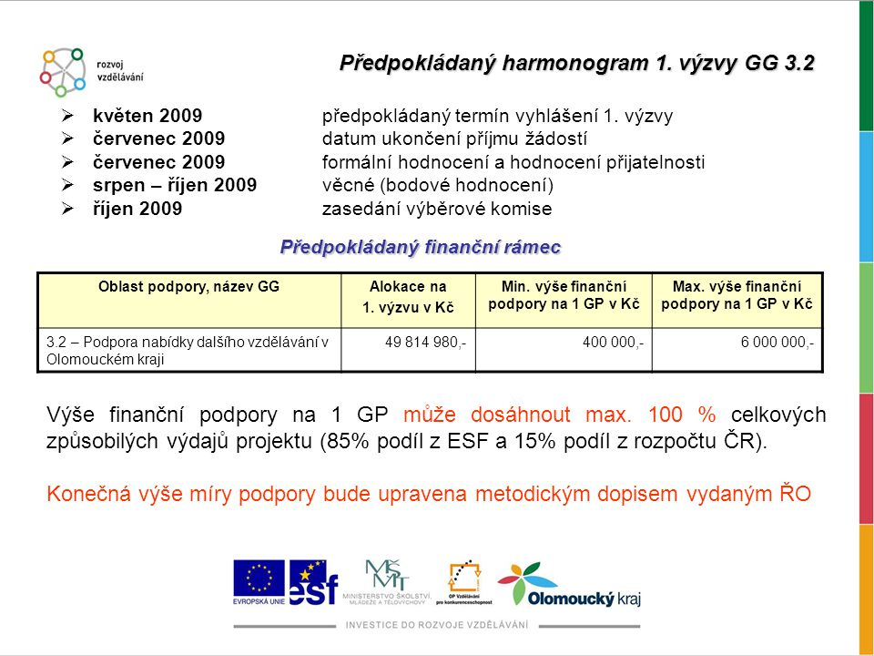 Předpokládaný harmonogram 1. výzvy GG 3.2  květen 2009předpokládaný termín vyhlášení 1.