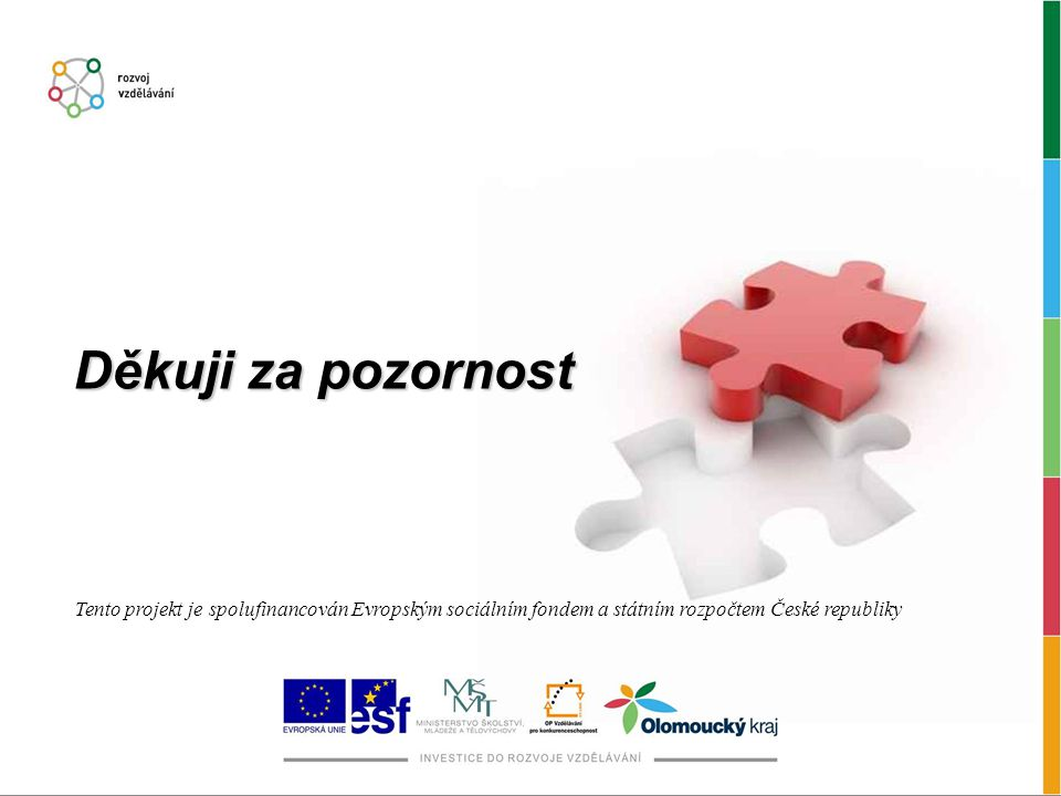 Děkuji za pozornost Tento projekt je spolufinancován Evropským sociálním fondem a státním rozpočtem České republiky
