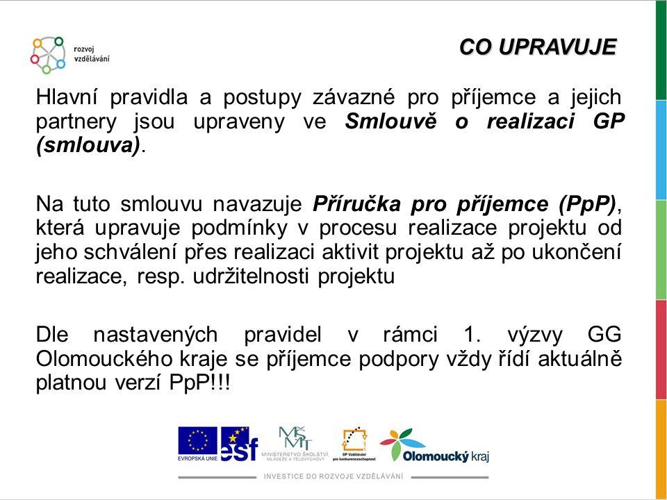 CO UPRAVUJE Hlavní pravidla a postupy závazné pro příjemce a jejich partnery jsou upraveny ve Smlouvě o realizaci GP (smlouva).