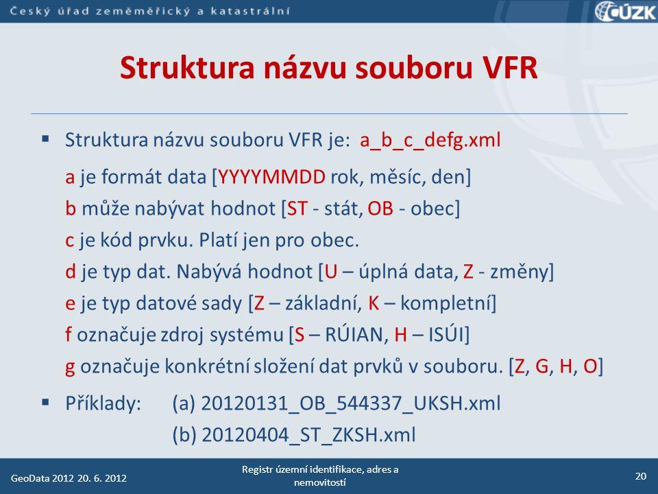 Výměnný formát RÚIAN (VFR) Registr územní identifikace, adres a nemovitostí 21 GeoData 2012 20.