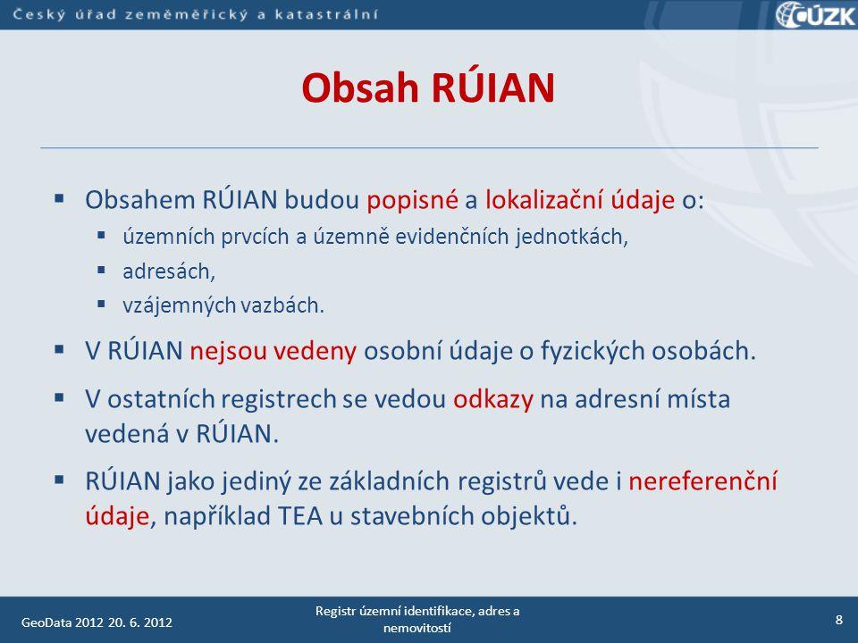 Územní prvky - struktura Benešov, 28.4.2011 RÚIAN 9