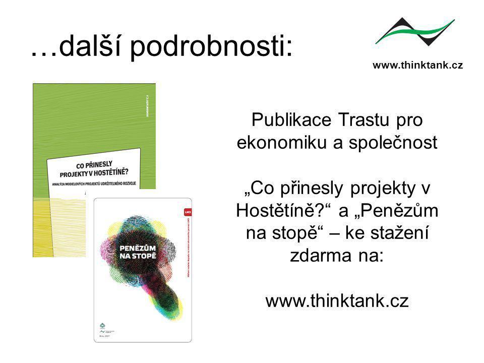 """www.thinktank.cz …další podrobnosti: Publikace Trastu pro ekonomiku a společnost """"Co přinesly projekty v Hostětíně? a """"Penězům na stopě – ke stažení zdarma na: www.thinktank.cz"""
