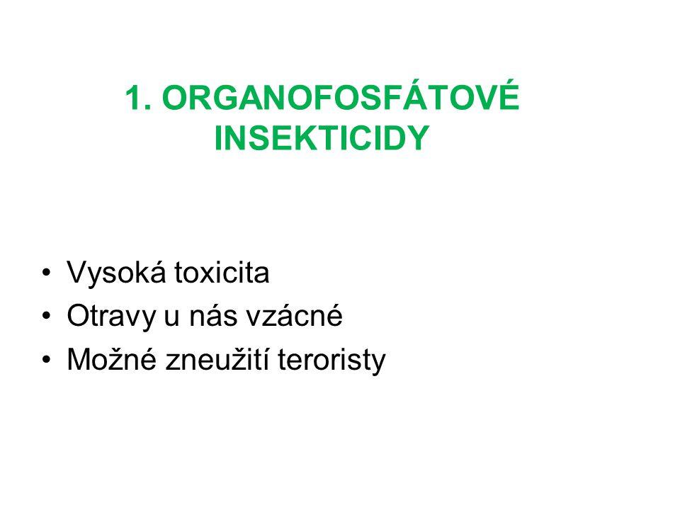 1. ORGANOFOSFÁTOVÉ INSEKTICIDY Vysoká toxicita Otravy u nás vzácné Možné zneužití teroristy