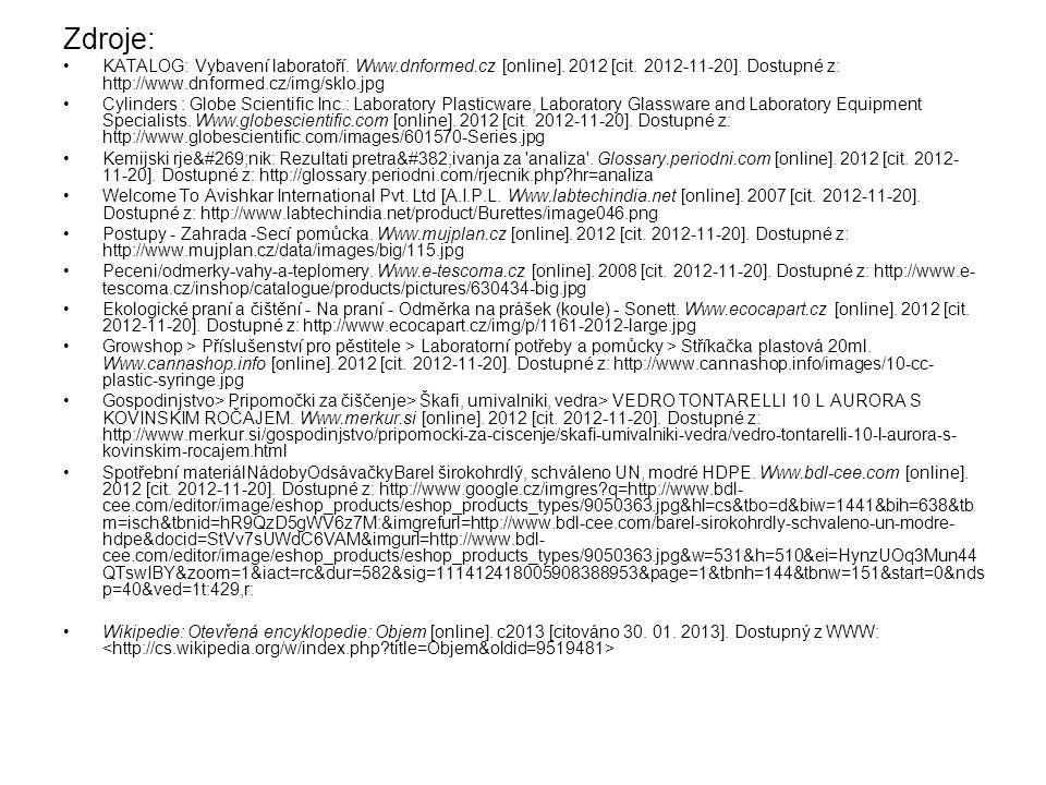 Zdroje: KATALOG: Vybavení laboratoří. Www.dnformed.cz [online]. 2012 [cit. 2012-11-20]. Dostupné z: http://www.dnformed.cz/img/sklo.jpg Cylinders : Gl