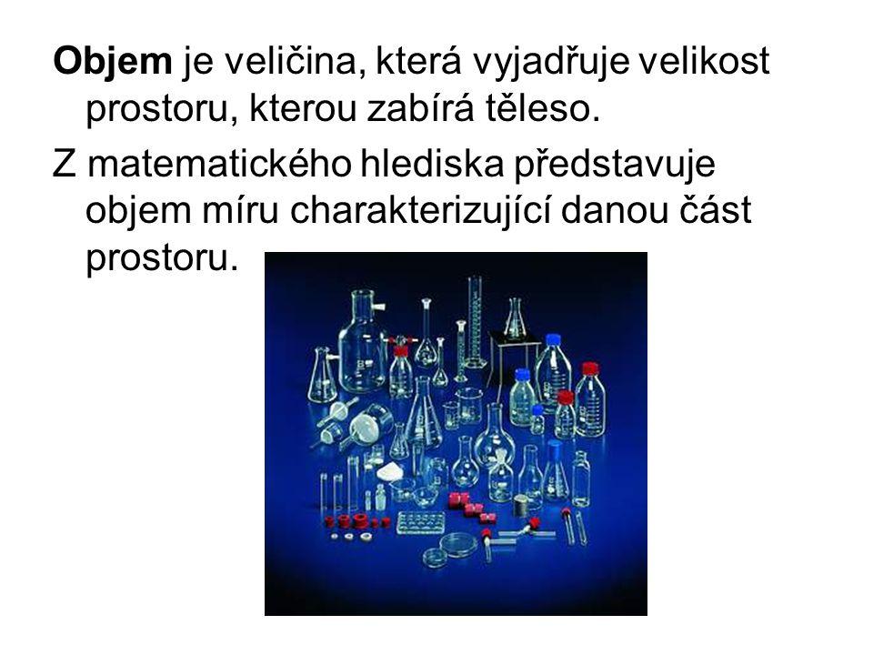 Symbol veličiny: V Jednotka SI: metr krychlový - značka jednotky: m³, lidově zvaný kubík Další používané jednotky decimetr krychlový [dm³] centimetr krychlový [cm³] milimetr krychlový [mm³] hektolitr [hl] litr [l] (1 l = 1 dm³) decilitr [dl] centilitr [cl] mililitr [ml] (1 ml = 1 cm³) Převod 1 m 3 = 1 000 dm 3 = 1 000 000 cm 3 = 1 000 000 000 mm 3 0,01 hl = 1 l = 10 dl = 100 cl = 1000 ml