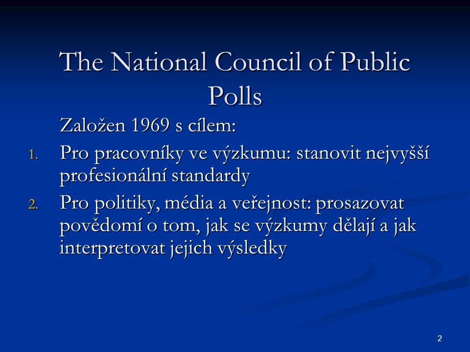 2 The National Council of Public Polls Založen 1969 s cílem: 1.