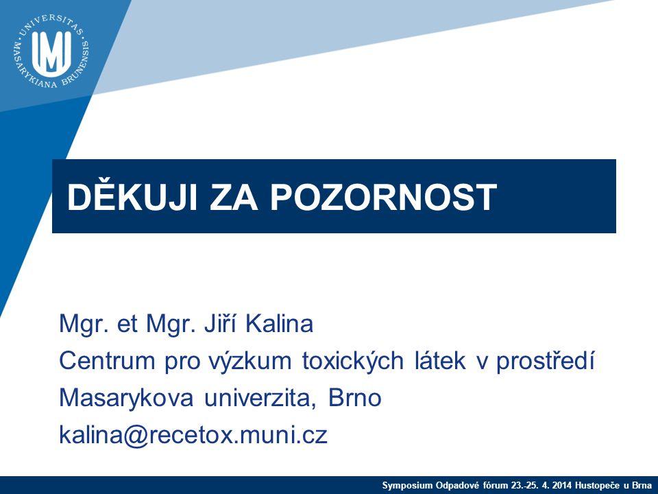 Symposium Odpadové fórum 23.-25. 4. 2014 Hustopeče u Brna DĚKUJI ZA POZORNOST Mgr.
