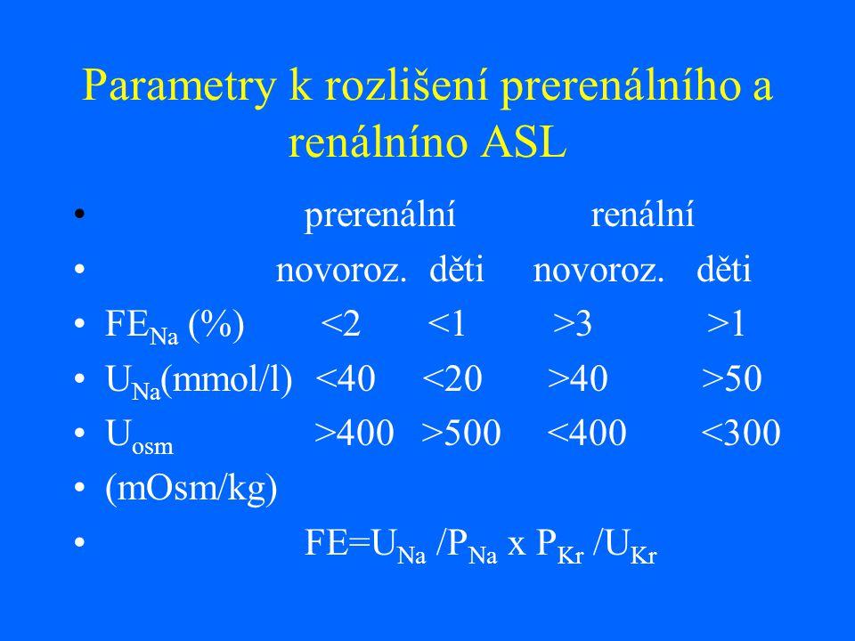 Parametry k rozlišení prerenálního a renálníno ASL prerenální renální novoroz. děti novoroz. děti FE Na (%) 3 >1 U Na (mmol/l) 40 >50 U osm >400 >500