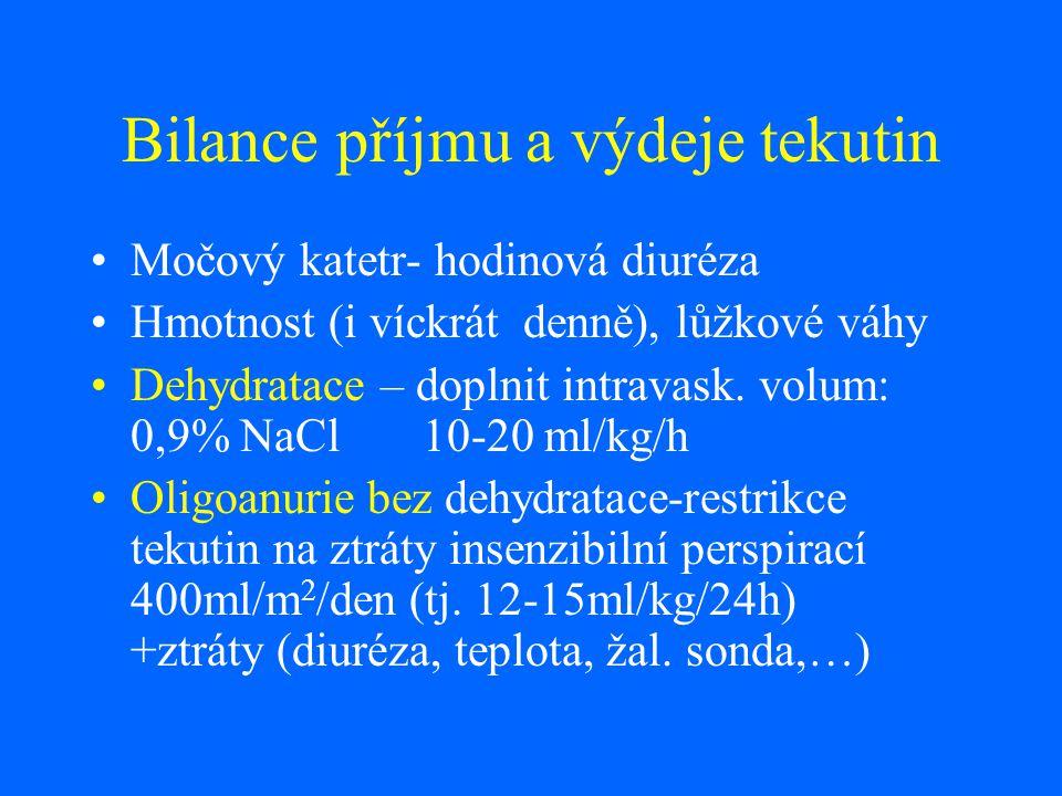 Bilance příjmu a výdeje tekutin Močový katetr- hodinová diuréza Hmotnost (i víckrát denně), lůžkové váhy Dehydratace – doplnit intravask. volum: 0,9%