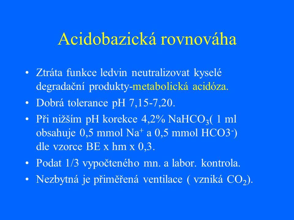 Acidobazická rovnováha Ztráta funkce ledvin neutralizovat kyselé degradační produkty-metabolická acidóza. Dobrá tolerance pH 7,15-7,20. Při nižším pH