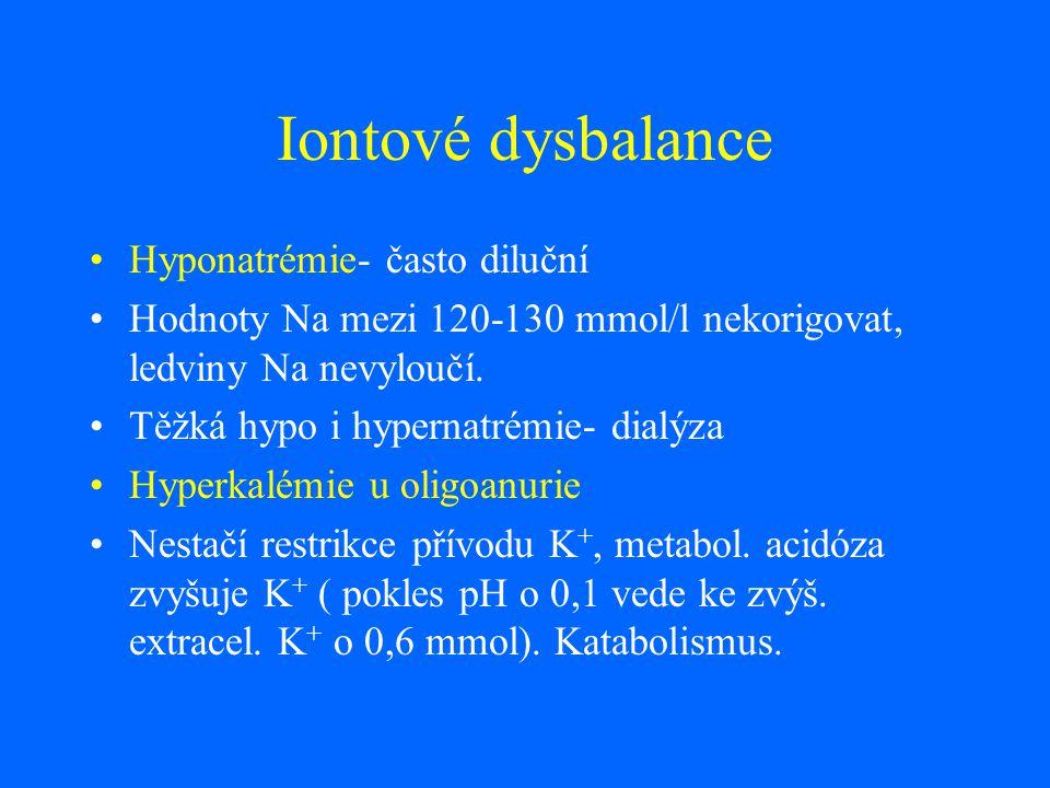 Iontové dysbalance Hyponatrémie- často diluční Hodnoty Na mezi 120-130 mmol/l nekorigovat, ledviny Na nevyloučí. Těžká hypo i hypernatrémie- dialýza H