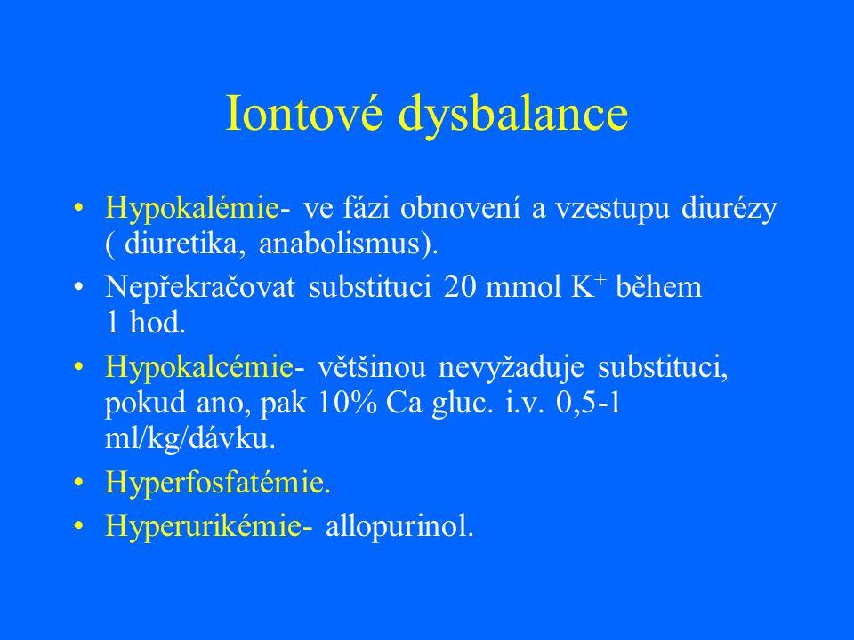Iontové dysbalance Hypokalémie- ve fázi obnovení a vzestupu diurézy ( diuretika, anabolismus). Nepřekračovat substituci 20 mmol K + během 1 hod. Hypok