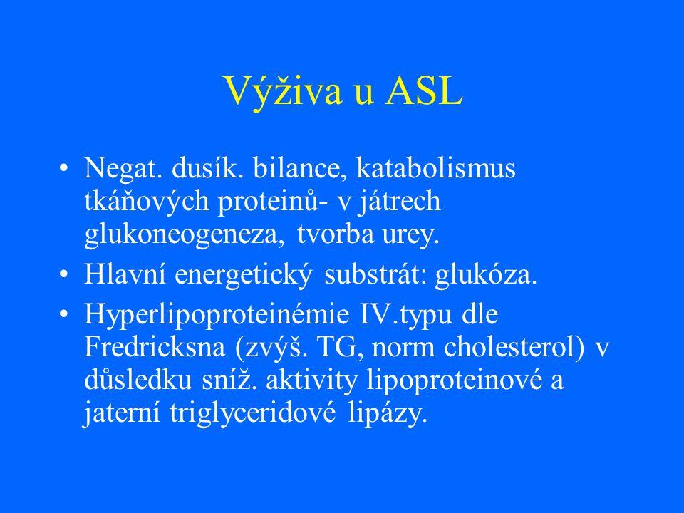 Výživa u ASL Negat. dusík. bilance, katabolismus tkáňových proteinů- v játrech glukoneogeneza, tvorba urey. Hlavní energetický substrát: glukóza. Hype
